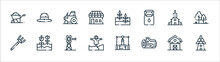 In The Village Line Icons. Lin...