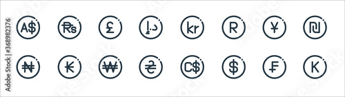 Valokuva currency line icons