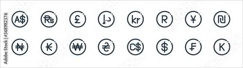 Obraz na plátně currency line icons