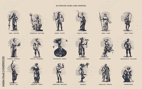 Cuadros en Lienzo Olympic heroes. Greek and Roman gods