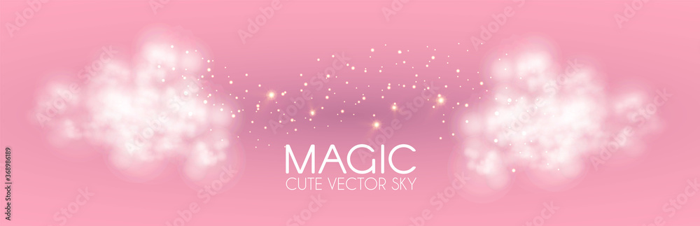 Fototapeta Cule clouds with gold magic glitter on pink background. Soft baby girl design. Glamour space.