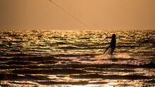 Silhouette Of Kite Surfer At L...