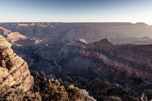 Retro Style Picture Of Sunrise At Grand Canyon Mather Point, Arizona On A Sunny Morning In Fall