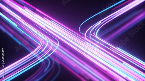 Valokuvatapetti Blue and purple neon stream