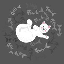 Illustration Of A White Cat Su...