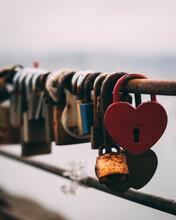 Heart Shaped Lock In A Fence In Porto