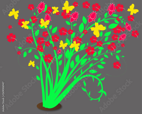 bunga raya flowers illustration Canvas Print