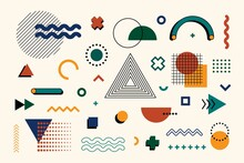 Memphis Design Elements Mega Set. Abstract Geometric Line Graphic Shapes Hipster Style, Vector Illustration