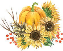 Watercolor Sunflowers And Pump...