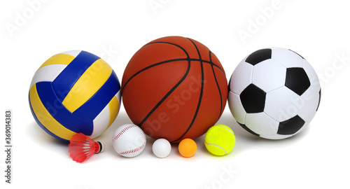 Obraz Various sport equipments isolated on white - fototapety do salonu