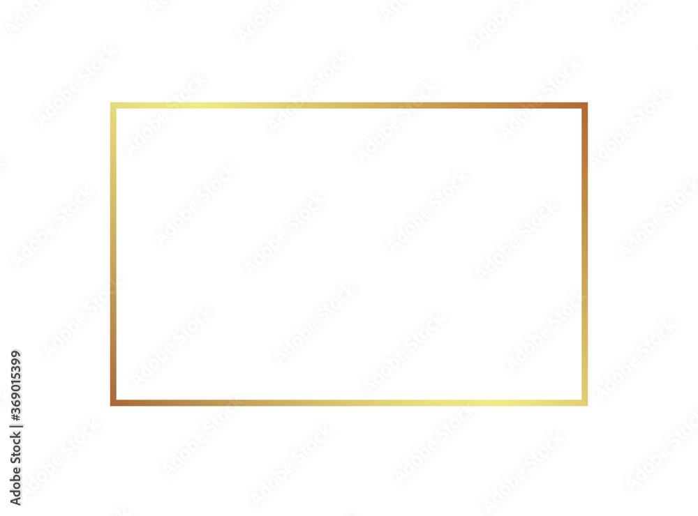 Fototapeta Gold frame border golden vector thin boarder square element