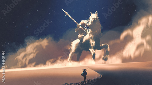 Foto a woman walking on a desert to the giant horseman-shaped storm, digital art styl