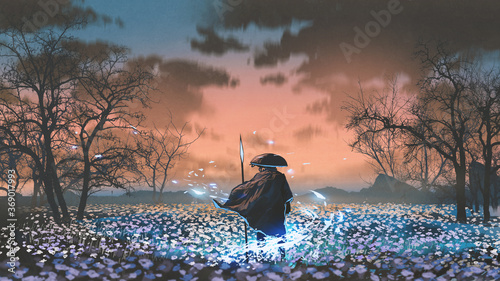 ancient warrior with the magic spear standing in the meadow, digital art style, illustration painting © grandfailure