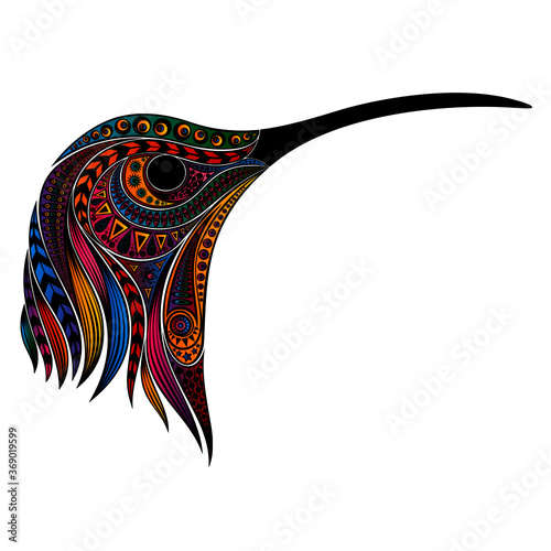 Original drawing for printing. Vector colored hummingbird head Tableau sur Toile