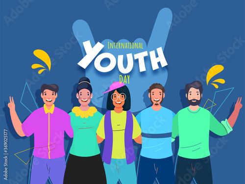 Obraz Cheerful Young People Together Taking Action On Blue Background For International Youth Day Celebration. - fototapety do salonu
