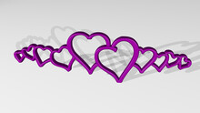 OUTLINE OF HEARTS Stand With Shadow. 3D Illustration Of Metallic Sculpture Over A White Background With Mild Texture. Icon And Isolated