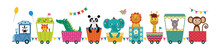 Train With Cute Animals Cartoon Characters Flat Vector Illustration Isolated.