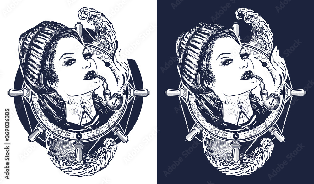 Fototapeta Woman sailor tattoo and t-shirt design. Pin-up style. Girl in the seaman's suit. Sea adventure art. Black and white vector graphics