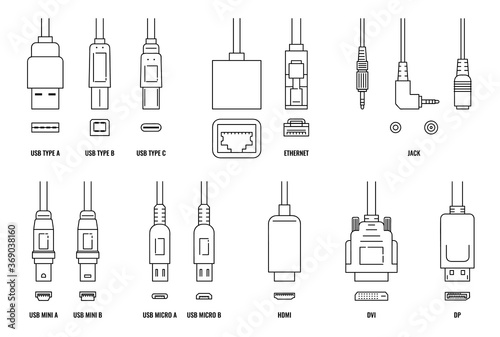 Vászonkép USB, HDMI, ethernet and other cable and port icon set with plugs