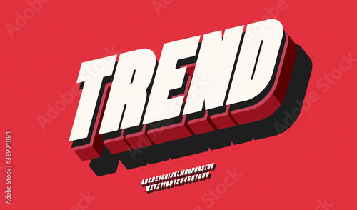 Obraz Vector trend font 3d bold color style modern typography for poster, event decoration, motion, video, game, t shirt, book, banner. Cool typeface. Trendy alphabet. 10 eps - fototapety do salonu