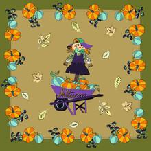 Scarecrow In A Pumpkin Cart