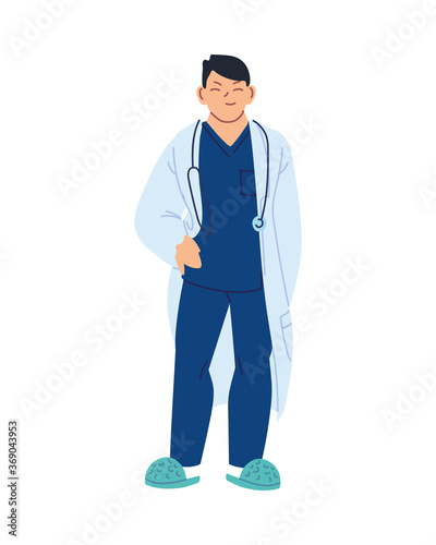 Isolated man doctor with stethoscope vector design