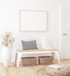 canvas print picture - Mockup frame in farmhouse living room interior, 3d render