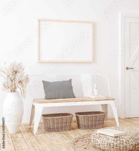 Mockup frame in farmhouse living room interior, 3d render © artjafara