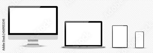 Fototapeta Set of compute, laptop, smartphone with empty screens. Design on transparent background. . Vector illustration obraz