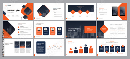 Fototapeta template presentation design and page layout design for brochure ,book , ,annual report and company profile , with info graphic elements design obraz