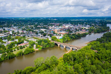 Aerial View Of Fredericksburg Virginia From Across The Rappahannock River With Kayaks On The Water