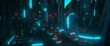 canvas print picture Neon urban future. Industrial zone in a futuristic city. Wallpaper in a cyberpunk style. Grunge cityscape with bright neon lights and huge futuristic buildings. 3D illustration.