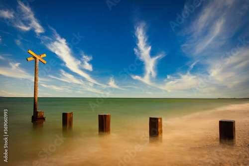 Canvas Print long exposure of Findhorn beach on the Moray coast, Scotland.