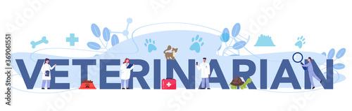 Pet veterinarian typographic header. Veterinary doctor checking