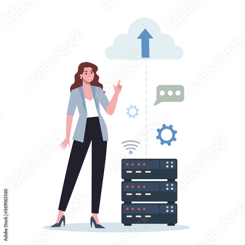 Obraz Office character and the cloud technology. Data information exchange - fototapety do salonu