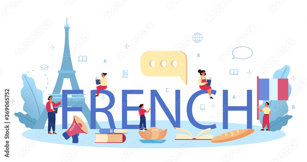 Fototapeta French typographic header. Language school french course. Study