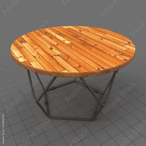 Obraz Round wooden table - fototapety do salonu