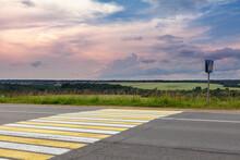 Empty Country Road With Pedestrian Crosswalk