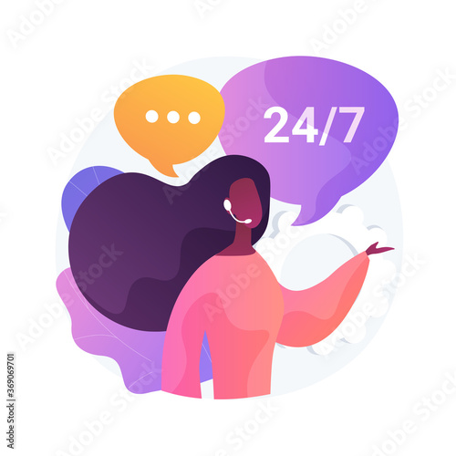Obraz Call center abstract concept vector illustration. Handling call system, virtual help center, customer service point, product support, market research and communication software abstract metaphor. - fototapety do salonu