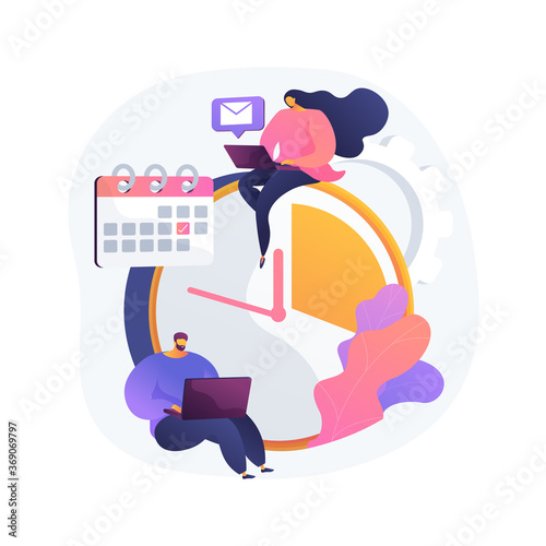 Time management abstract concept vector illustration. Time tracking tool, management software, effective planning, productivity at work, clock, control system, project schedule abstract metaphor. - 369069797
