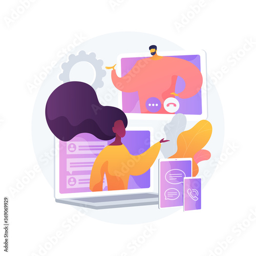 Obraz Unified communication abstract concept vector illustration. Enterprise communications platform, consistent unified user interface, framework for real-time audio video integration abstract metaphor. - fototapety do salonu