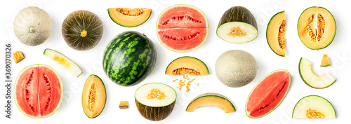Obraz Watermelon and melon pattern - fototapety do salonu