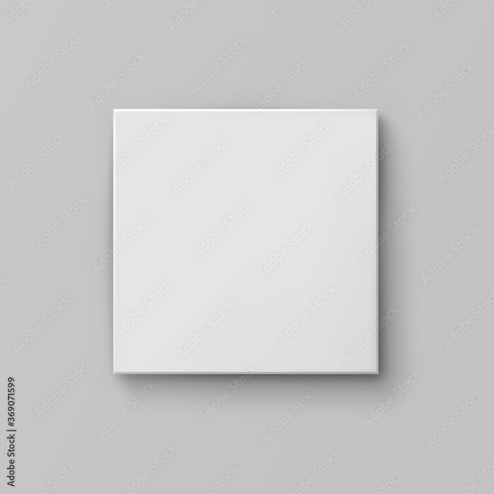 Fototapeta Box mock up top view with shadow isolated on grey background. White 3d closed container package template. Vector blank picture canvas, wall display, poster or banner