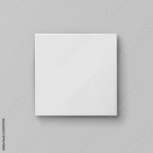 Obraz Box mock up top view with shadow isolated on grey background. White 3d closed container package template. Vector blank picture canvas, wall display, poster or banner - fototapety do salonu