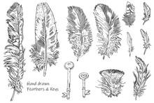 Set Of Hand Drawn Ink Pen Sket...