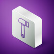 Isometric line Hammer icon isolated on purple background. Tool for repair. Silver square button. Vector Illustration.