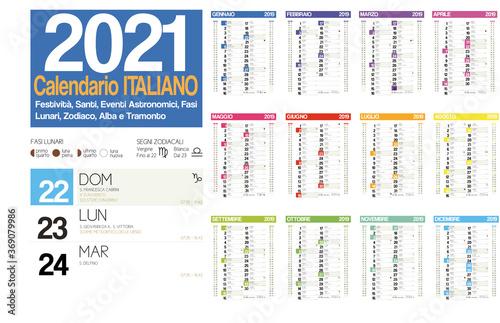 2021 italian calendar with italian holidays, zodiac , saints, moon