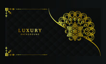 Abstract Beautiful Luxury Mandala Background Design. Luxury Ornamental Mandala Design Background In Gold Color. Vector Luxury Golden Decorative Mandala For Print, Poster, Cover, Banner, Wedding Card.