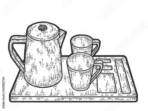 Fototapeta Coffee set, kettle, two cups and a tray. Sketch scratch board imitation. obraz