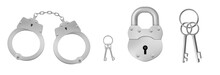 Closed Handcuffs And Padlock With Keys. Concept Of Police Arrest, Jail Custody. Vector Realistic Set Of Metal Handcuffs For Crime Or Gang, Lock For Prison And Keys Isolated On White Background